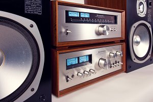 Stereo Vintage Amp Tuner Speakers