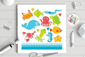 Happy Underwater Animals Set