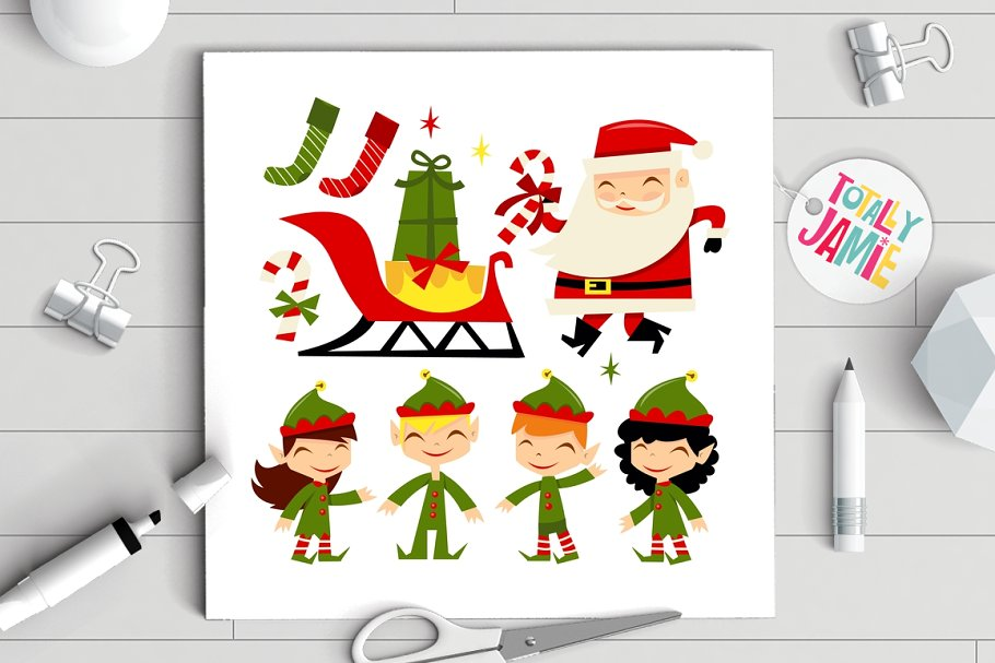 Christmas Santa Elves in Illustrations - product preview 8