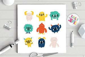 Cute Furry Monsters Set
