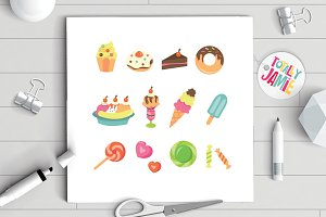 Sweet Desserts Icon Set