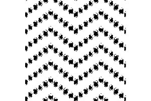 Black and white hand painted dot chevron ornament grunge seamless pattern, vector