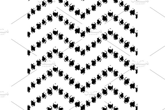 Black And White Hand Painted Dot Chevron Ornament Grunge Seamless Pattern Vector