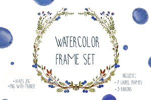 Watercolor Frame Ribbons Set