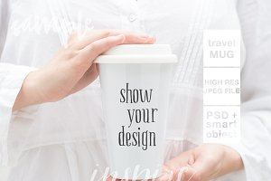 Girl Holding Ceramic Travel Mug Mock