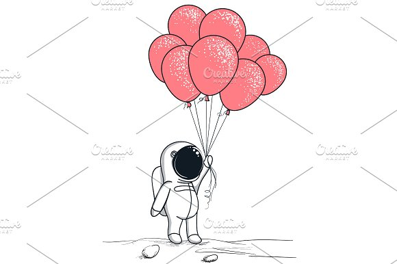 Cute Astronaut Keeps Red Balloons