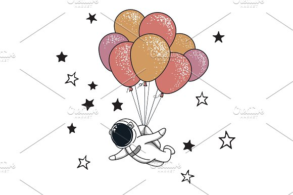Spaceman With Balloons