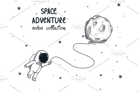 Spaceman With Moon Like A Balloon
