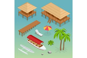 Luxury overwater thatched roof bungalow, bridge, palm tree, pleasure boat, kayak, beach lounger and sun umbrella. Tropical vacations. Isometric vector illustration