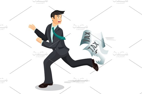 Man Escaping From Taxes Tax Dodging Non-payment Concept