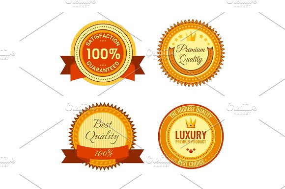 Golden Round Reward Seals Collection With Inscriptions Metal Badges