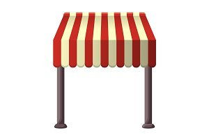 Striped awning for shops, street cafes, restaurants in summertime.