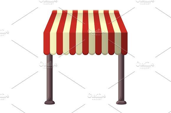 Striped Awning For Shops Street Cafes Restaurants In Summertime