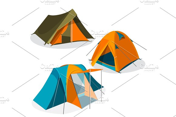 Awning Tourist Camping Tents Icons Collection Hiking Pavilions Vector Illustration