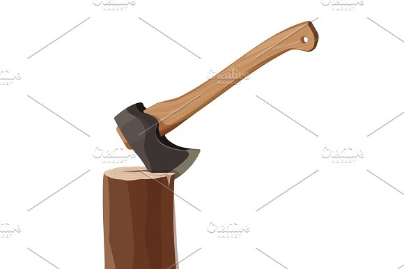 Stump With Axe Isolated On White Background Wooden Ax Element