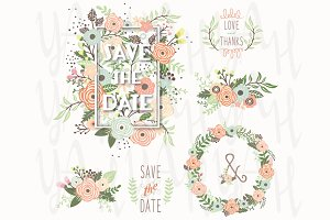 Save The Date Floral Elements