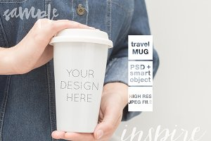 Girl Holding Travel Mug Mockup + PSD