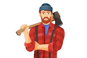 Axeman with wooden axe isolated on white background. Lumberman