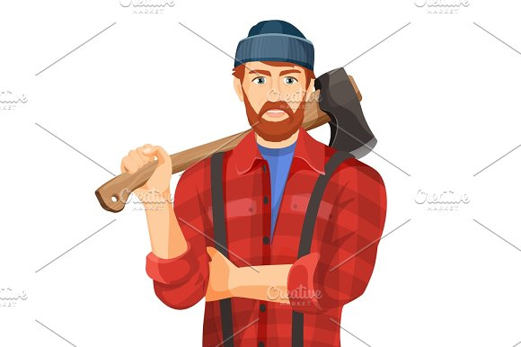 Axeman With Wooden Axe Isolated On White Background Lumberman