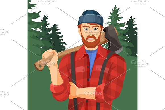 Axeman With Axe In Forest Lumberman With Element For Woodworking