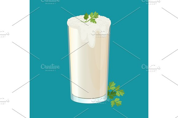 Glass Of Ayran With Dill And Parsley Herbs Isolated On White