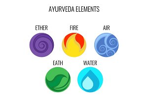 Ayurveda vector elements and doshas icons isolated on white