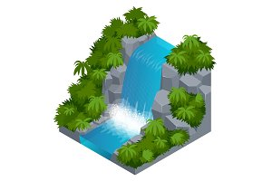 Waterfall in tropical forest. Build your own infographics collection. Vector isometric illustration
