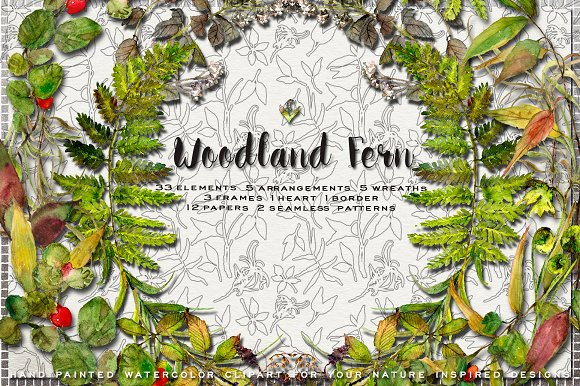 Woodland Fern Watercolor Clip Art