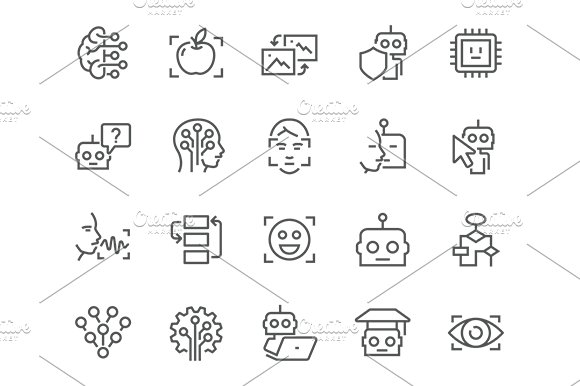 Line Artificial Intelligence Icons ~ Icons ~ Creative Market