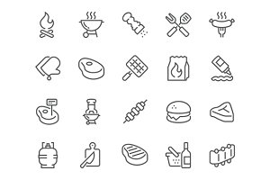 Line Barbecue Icons