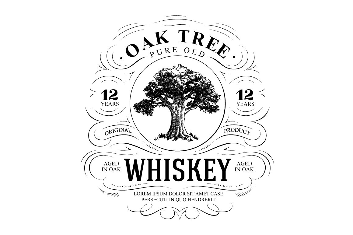 Vintage Oak Tree Whiskey Logo Templates Creative Market