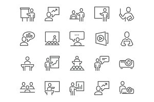 Line Business Presentation Icons