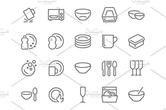 Line Dish And Plates Icons