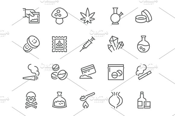 Line Drugs Icons