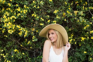 Floppy Hat & Spring Flowers