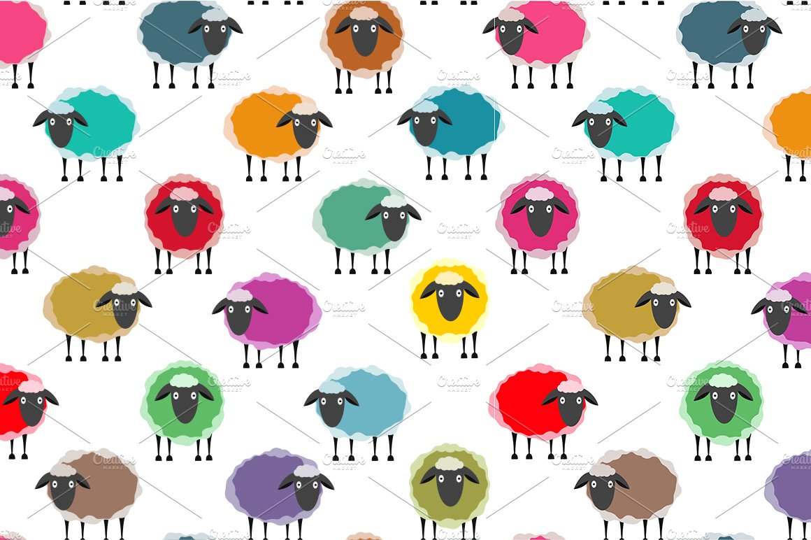 Colorful Seamless Sheep Pattern Graphic Patterns Creative Market