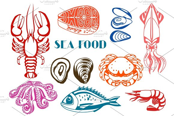 Various Seafood Set Illustration Of Fish Shellfish And Crustaceans