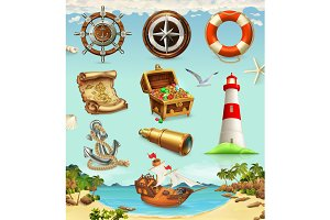 Marine set, summer vacation vector