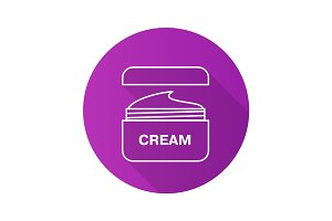 Face cream jar. Flat linear long shadow icon