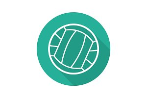 Volleyball ball flat linear long shadow icon