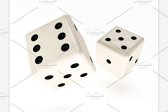 Casino Dice On Table 3D Rendering