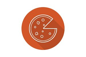 Pizza flat linear long shadow icon
