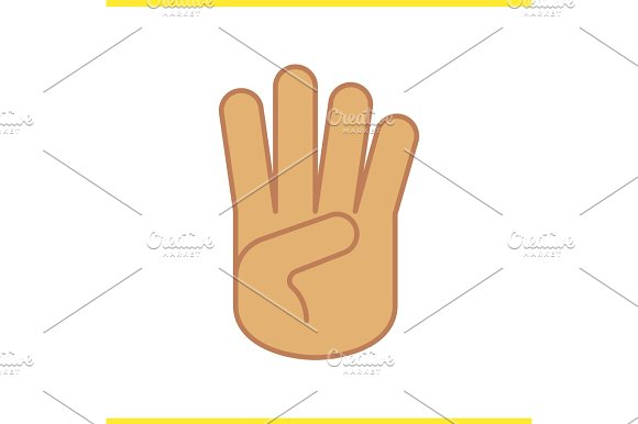 Four Fingers Up Hand Gesture Color Icon
