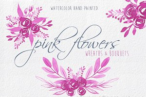 Pink Flowers watercolour clip art