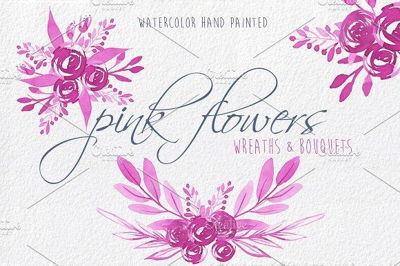 Pink Flowers Watercolour Clip Art