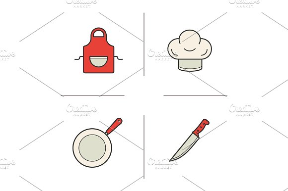 Chef's Equipment Color Icons Set