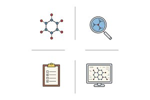 Science lab color icons set