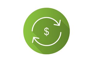 Money exchange flat linear long shadow icon