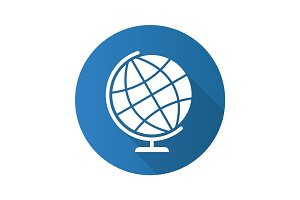 School globe flat design long shadow icon