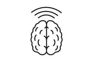 Brain waves linear icon